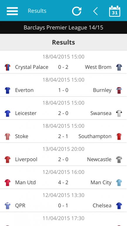 Premier League Match Results List