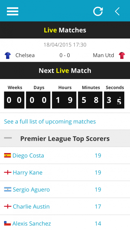 Premier League Live Matches, Match Countdown and Top Scorers