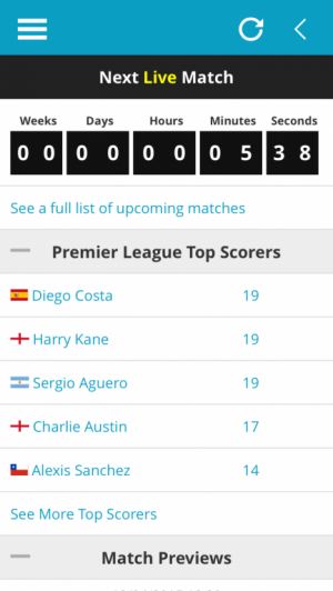 Live Match Countdown and Premier League Top Scorers