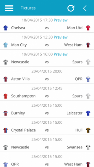 Premier League Fixtures List