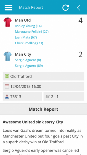 Man Utd v Man City Match Report