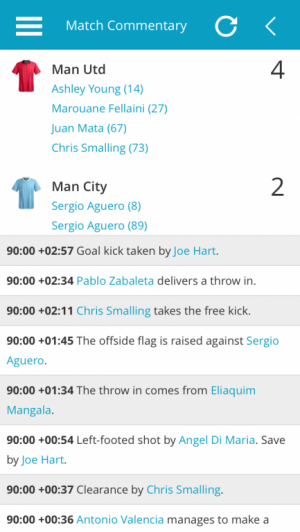 Man Utd v Man City Match Commentary