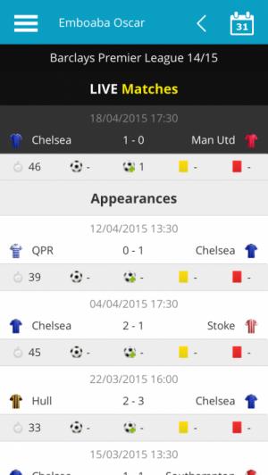 Emboaba Oscar Live Match Stats plus Previous Premier League 2014/15 Appearances