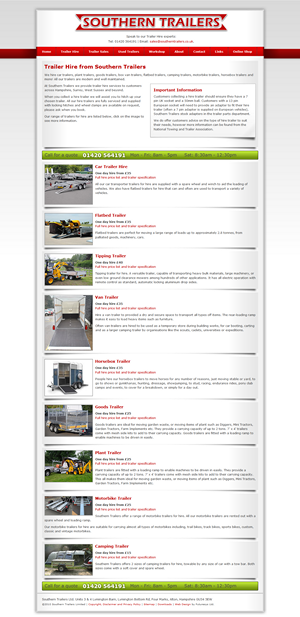Southern Trailers, Trailer Hire Screen Capture