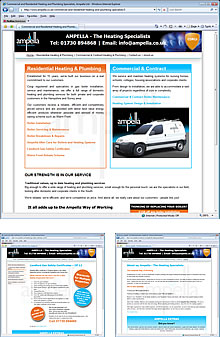 Image showing views of the Ampella Ltd web site